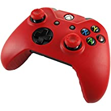 Xbox One Controller High Quality Protective Silicone Case - Red with 2 Red Silicone Thumb Grips