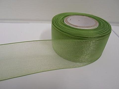2 metres of 40mm Sage, Light Green, Sheer Organza Ribbon,