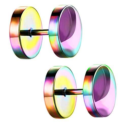 Ditz Damen Herren Ohrstecker Edelstahl Platte mit Kreis zum Schrauben Fake Plug Piercing Ohr Tunnel Doppel Ohrringe Rund Schlicht Rainbow 14mm