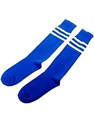 ETHAHE Chaussettes de Foot Longues Epaisses 3 bandes en Coton Bleu et Blanc