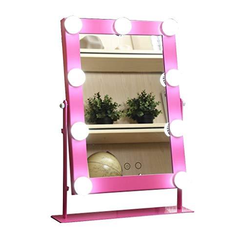 XXHDYR Einseitig klappbarer Kosmetikspiegel mit quadratischem Spiegel und LED-Kosmetikspiegel mit großer Leuchtkraft Wandspiegel (Color :...