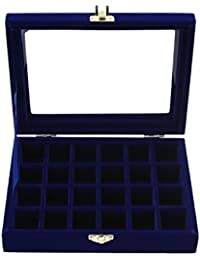 Rrimin Velvet Fabric Glass Jewelry Ring Display Box Tray Holder Storage Box Organizer - B0743FP7F4
