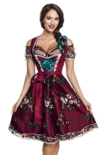 Midi Dirndl Set Tracht Trachtenkleid Dirndl-Kleid Wiesn Oktoberfest Bluse 36-46 Rot/Schwarz XL (42)