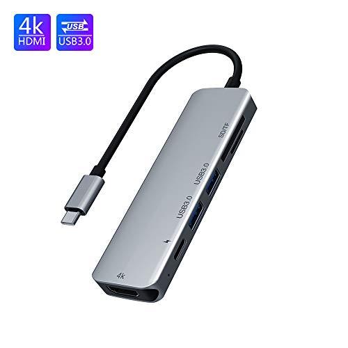 Typ C 6 in 1, tragbarer USB C-Hub mit 4K HDMI, 2 USB 3.0, TF/SD-Kartenleser, PD-Anschluss, Typ C-Aluminiumadapter für Windows/Mac/Linux, kompatibel mit PC/Tablet/Smartphone-USB-C-Geräten