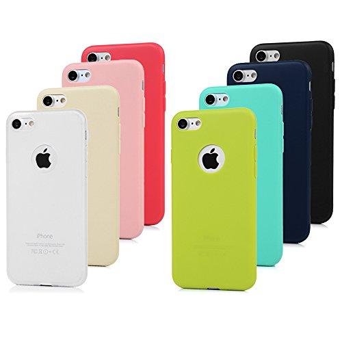 """8x Cover iPhone 7 Silicone, Custodia iPhone 7 Morbido TPU Opaco - MAXFE.CO Case Antiscivolo Satinato, Ultra Sottile Cassa Protettiva per iPhone 7 / 8 4.7"""" (Rosso, blu, blu scuro, nero, bianco trasparente, giallo, rosa, verde)"""