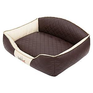 HobbyDog XLELIBBB1 Hundebett/Sofa/Korb Elite mit Kunstleder, braun/beige, XL 84 x 65 x 28 cm