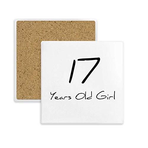 DIYthinker Chica de 17 años Edad Joven Square Coaster Taza del sostenedor de Taza de Piedra Absorbente para Regalo Bebidas 2pcs