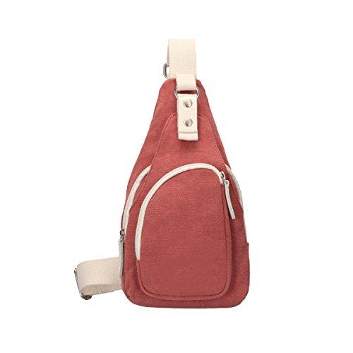 Yy.f Nuova Borsa Borsa Di Tela Petto Borse Casuali Messenger Bag Uomo Sacchetto Solido Paio Di Marea Degli Uomini Spalla Multicolore Red