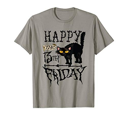 Happy Friday 13th Black Cat Scary Halloween T-Shirt (Trick Or Treat Halloween-tag Happy)