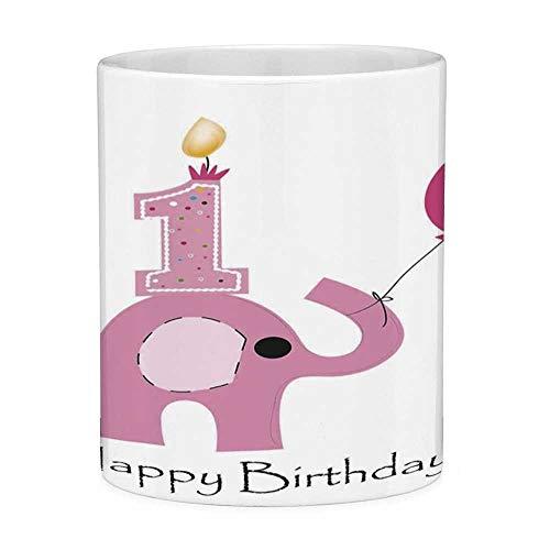 Sin plomo Taza de café de cerámica Taza de té Blanco 1er cumpleaños Decoraciones 11 onzas Taza de café divertida Diseño minimalista Fiesta de elefantes y bebés Lila Rosa claro y blanco