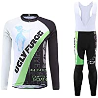 BurningBikewear Uglyfrog Clásico Ciclismo Maillot Mujers Jersey + Pantalones Largos Culote Mangas Largas de Ciclismo Conjunto
