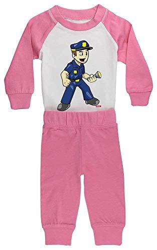 Einfach Linken Im Kostüm Auge - HARIZ Baby Pyjama Polizist Witzig Taschenlampe Polizei Cops Plus Geschenkkarten Pink/Fuchsia 24-36 Monate