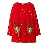 i-uend Weihnachten Baby Kleid - Kleinkind Baby Mädchen Langarm Streifen Hirsch Weihnachten Print Kleid Outfits Kleidung für 1-6 Jahre