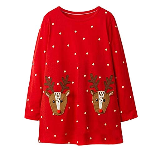 (Huihong Kleinkind Mädchen Weihnachten Kleider Langarm Streifen Hirsch Druck Kleid T Shirt Kleider Für 1-6 Jahre (Rot, 18-24 Monate))