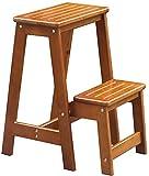 GBX Facile e conveniente multifunzione pieghevole Passo Sgabello, Legno gradino di carico Sgabello 2 Livello Ladder sedia panca sedile utilità multifunzionale 120 Kg,Giallo Noce