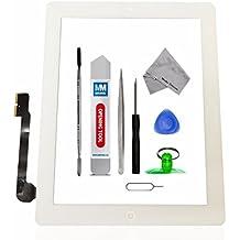 Schermo tattile di ricambio per iPad 3 Bianco Incl kit con 12 attrezzi / vetro frontale / pinzetta / rullo di nastro adesivo da 2 mm / panno microfibra / ventosa / cavo metallico MMOBIEL