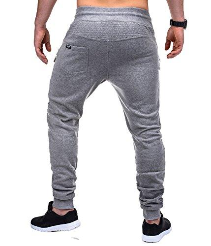 BetterStylz SaschaBZ Zip Pantalon de Jogging Sport Harem fermeture éclair UNI Homme div. Color (S-XXL) Gris/Noir