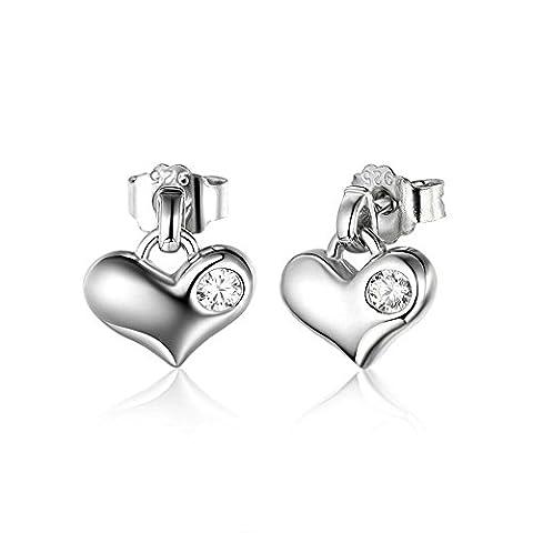 Cubic Zirconia Heart Stud Earrings for Women Teen Girl Earrings Love Shaped Platinum Plated 925 Sterling Silver Earrings Set, 2pcs