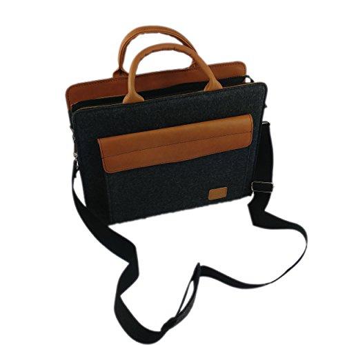 Venetto Filztasche Businesstasche Umhängetasche Aktentasche Arbeitstasche Handtasche Herren Damen Unisex Tasche aus Filz mit Schultergurt mit Echtleder-Applikationen für MacBook (Rot meliert) Schwarz meliert