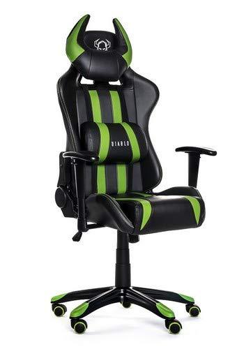 Diablo X-One Horn Gaming Stuhl Bürostuhl Wippfunktion verstellbare Armlehnen Lendenkissen Kunstleder Farbwahl Schwarz/Grün