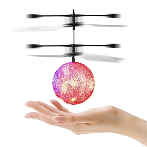 OCDAY Fliegender Ball, RC Infrarot Induktion Hubschrauber Drohne Kugel mit farbwechsel LED Disco Beleuchtung, Spielzeug für Kinder und Jugendliche (rot) (Infrarot-led Hat)