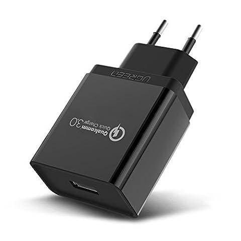 UGREEN USB Chargeur Rapide Quick Charge 3.0 Adaptateur Secteur USB 18W Un Port Qualcomm Certifié pour Samsung Galaxy S8 S7 S6 Edge Note 5 Note 4, Huawei P9 Lite P9 P8 Mate 8, Google Nexus 6, LG G4 G5 V10, HTC One M9 M8, Sony Xperia XZ Z5 Z4 Z3, Xiaomi Mi Max Mi5, Motorola Droid Turbo (Noir)