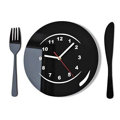 Moderno orologio da parete orologio da parete Posate e Piatto nero cucina, bar decorativo moderno 3d