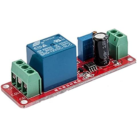 Solu ritardo relè, 12 V DC-Timer NE555-Modulo interruttore regolabile, 0 a 10 secondi/DC 12 V/indicatore LED attivato NC azionamento modulo relè a tempo di ritardo