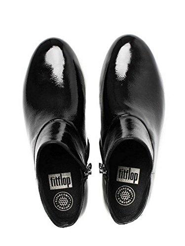 Fitflop Ii Supermod In Pelle Alla Caviglia Boot Nero Brevetto Black Patent with White Sole