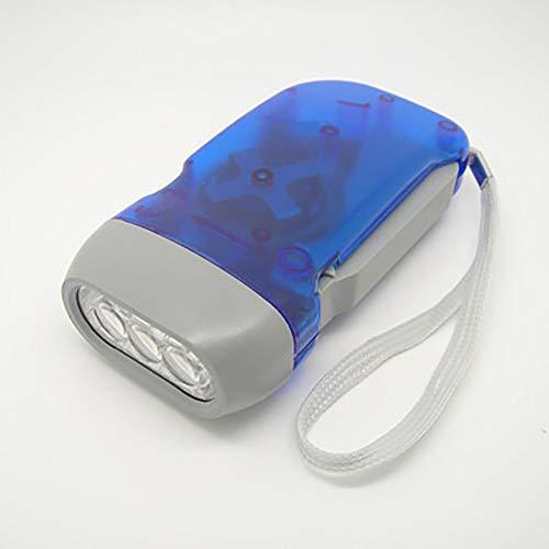 AimeFor Mini Dynamo-Taschenlampe mit 3 LEDs, zum Aufziehen, Handdrücken, Kurbel, Outdoor-Sport, Camping blau