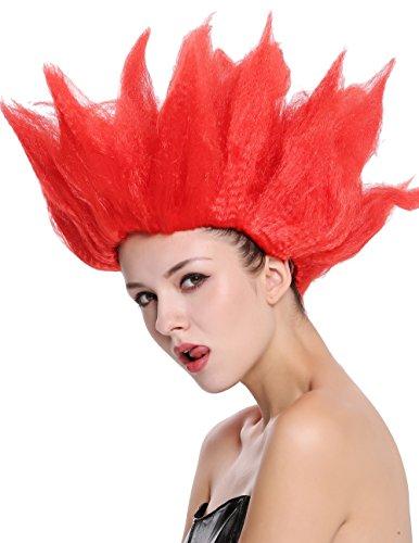 Wig me up ® - 91062-pc13 parrucca donna uomo carnevale halloween cosplay fiore tulipano demone fuoco diavolo rosso acconciatura sparata in aria
