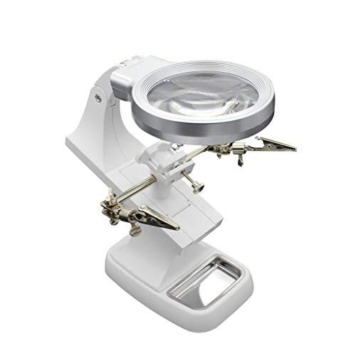 Beleuchtete Tischlupe, ABS-Rahmen aus Metall mit optischer Linse, geeignet zum Lesen von Zeitungen, Briefmarken, Medikamenten, Outdoor-Uhren, Inspektion und Wartung