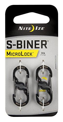 Nite Ize Karabiner S-Biner MicroLock 2 Stk, schwarz, NI-LSBM-01-2R3
