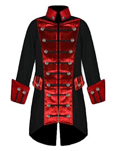 Chaqueta Largo Medieval para Hombre Halloween Punk Abrigo Gótico Renacimiento Victoriano Jacket Rojo L