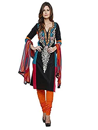UTTAM VASTRA multi color georgette embroidered semi-stitch designer dress