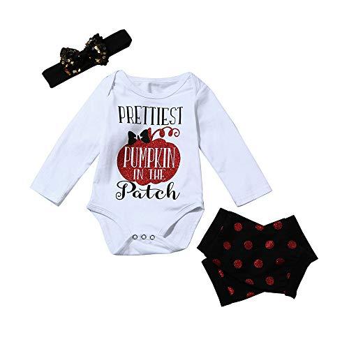 (SEWORLD Baby Halloween Kleidung,Niedlich 3PCS Neugeborene Kinder Baby Mädchen Strampler Overall + Stirnband Kleidung Outfits(Weiß,3 Monate))