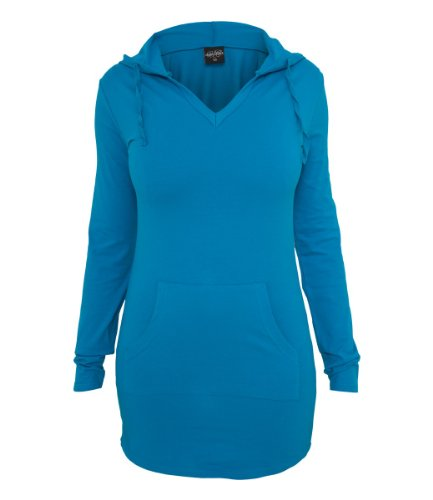 Urban Classics Ladies Long Jersey Hoody, Color:turquoise;Größe:M