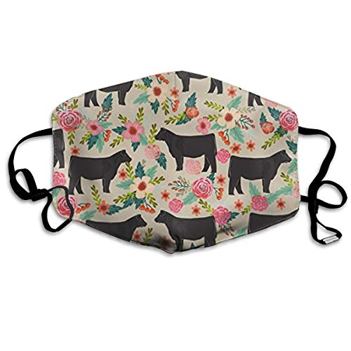 Show Steer Cows Farm Barn Florals Design Unisex Anti-dust Solid Cotton Earloop Face Mouth Mask Muffle -