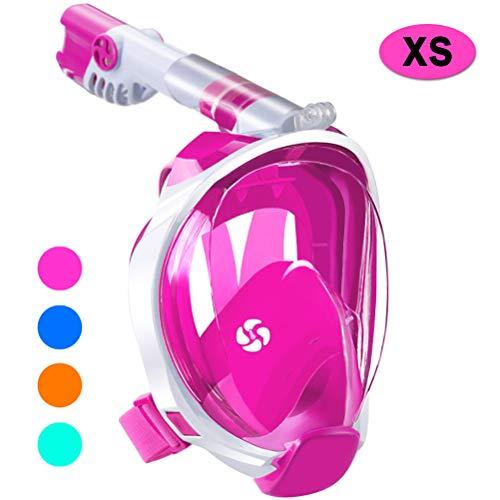 WSTOO Masque de plongée intégral avec Tuba panoramique 180 - Pliable, Anti-buée, Anti-Fuite avec Support de caméra Amovible pour Adultes et Enfants, Style Kids - Rose, XS