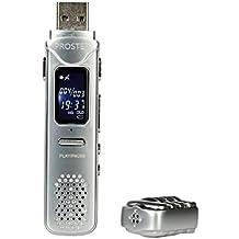 Proster Grabadora de Voz del USB 8GB Mini Grabadoras de Voz Digital - 30 Horas Dispositivo de Grabación de Audio de Sonido con Auriculares para Reuniones Presentaciones Entrevistas etc