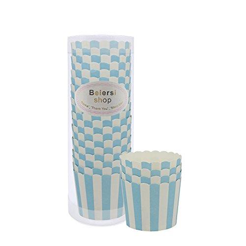 Beiersi Streifen Papierkuchen Liner Tasse Cupcake Muffin Backen Baking Cup 20 Stücke (Blaue Streifen)