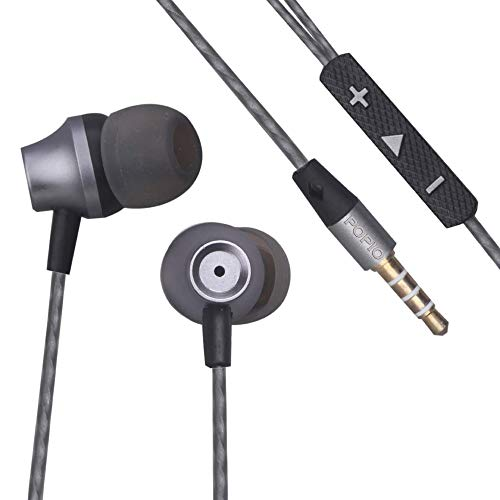 POPIO Basic Earphones with Microphone & Volume Rockers (Grey)