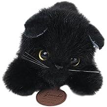 -Japonesa hecha agraciado CAT Nesoberi gato negro de peluche 24cm de longitud completa I-