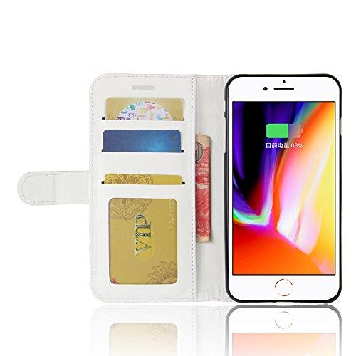 Easbuy Pu Leder Kunstleder Flip Cover Tasche Handyhülle Case Mit Karte Slot Design Hülle Etui für iphone 8 Plus / 7 Plus Smartphone Handytasche Weiß