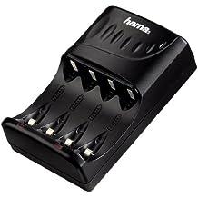 Hama 00087089 - Cargador para 4 pilas (AA/AAA, LED), color negro