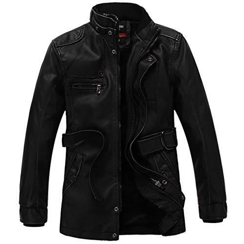 LSAltd männer Klassische Retro einfarbig Kunstleder Mantel Casual Langarm Stehkragen reißverschluss Jacke -