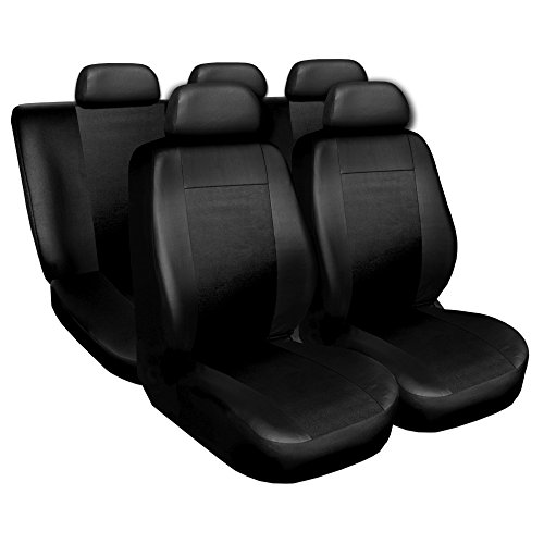 Preisvergleich Produktbild CITROEN BX, C3, C4, C5, CX, XANTIA, XM, XSARA, ZX, BERLINGO, NEMO, C-ELYSSE, DS3, DS4, DS5 Schonbezüge Sitzbezüge Autositzbezüge Komplettset Superior Eco Leder (Schwarz)