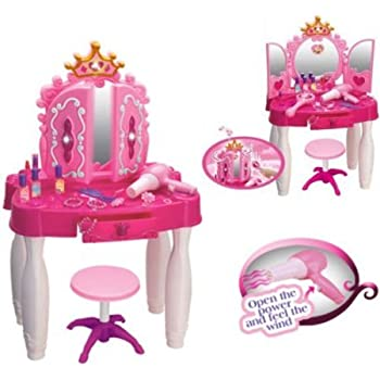 DURABLE New Girls Toy Dressing Table Chair Glamour Mirror Beauty Playset  +Music U0026 Lights