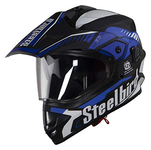 Steelbird SBH-13 7Wings Airborne Motocross Helmet in Glossy Finish with Plain Visor (Large 600 MM, Glossy Black/Blue)