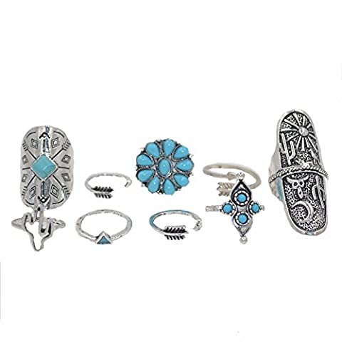 JIASTONE 9PCS/Set Antique Silver Plated Vintage Bohemian Turkish Midi Ring Set Steampunk Snake Turquoise Ring Knuckle Rings For Women Jewelry (Color: Silver)